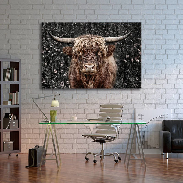 Asst African Animals Cow/Zebra/Rhinoceros - Rolled Canvas Print Only (BXY228)