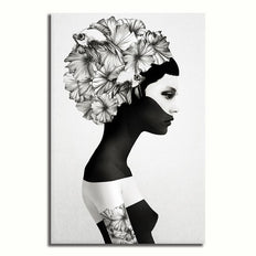 Floral head lady - Rolled Canvas Print Only (BXY258)
