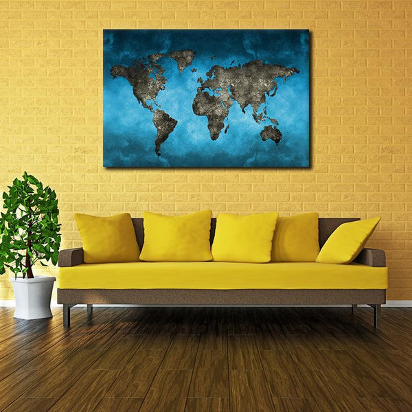 Asst Stylized World Map - Rolled Canvas Print Only (BXY250b)