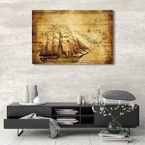 Sailing Ship/ Asst Stylized World Map - Rolled Canvas Print Only (BXY250c)