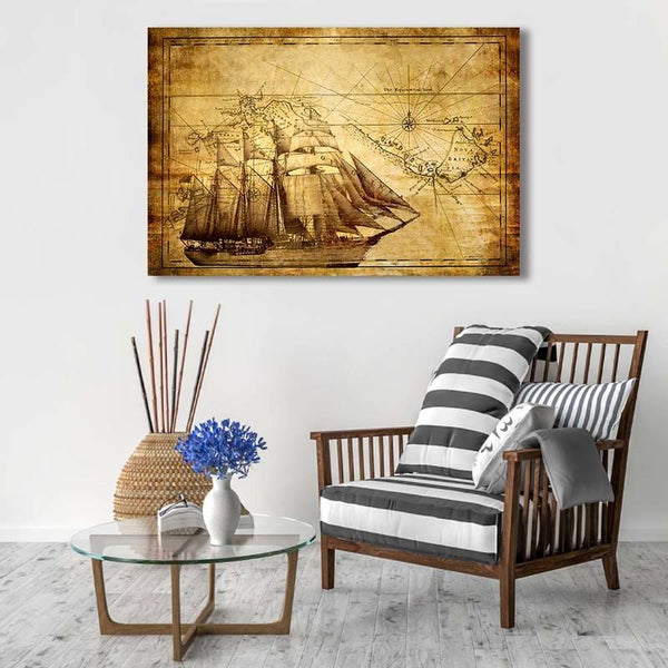 Sailing Ship/ Asst Stylized World Map - Unframed Canvas Print (BXY250c)