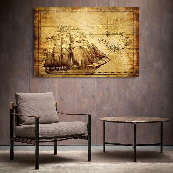 Asst Stylized World Map - Unframed Canvas Print (BXY250b)