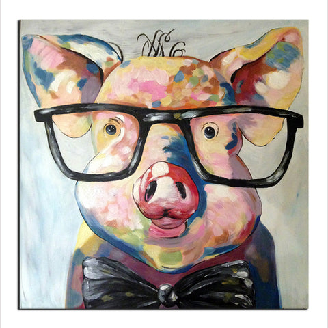 Pig Glasses - Unframed Canvas Print (BXY272)