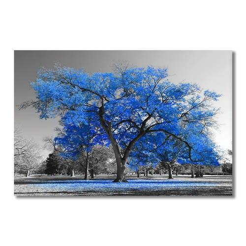 Asst Blue Trees - Unframed Canvas Art (BXY212c)
