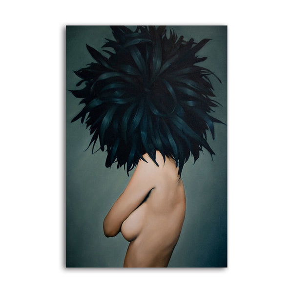 Asst Feather Haired Lady - Rolled Canvas Print Only (BXY218)