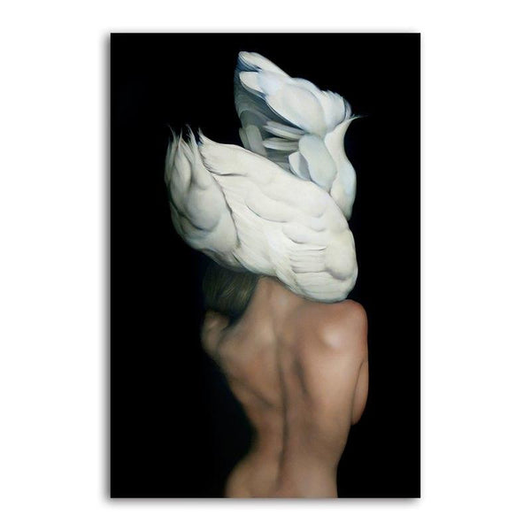 Feather Face Lady - Unframed Canvas Print (BXY213b)