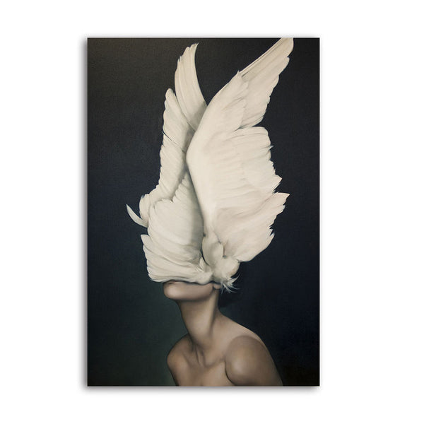 Feather Face Lady - Unframed Canvas Print (BXY213)
