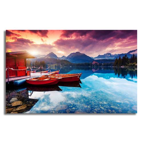 Asst Beach Paradise Boats/Jetty - Unframed Canvas Print (BXY230c)