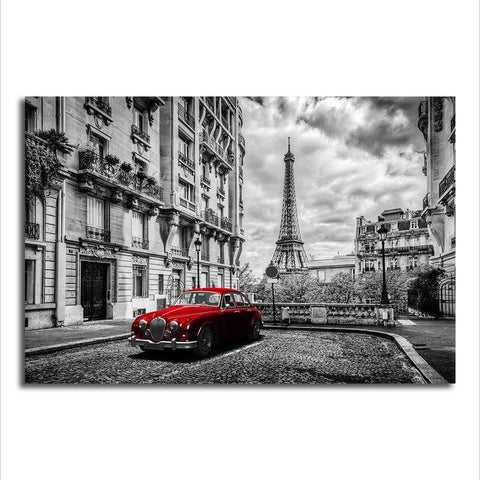 Eiffel Tower with a splash of Red - Unframed Canvas Print (BXY221b)
