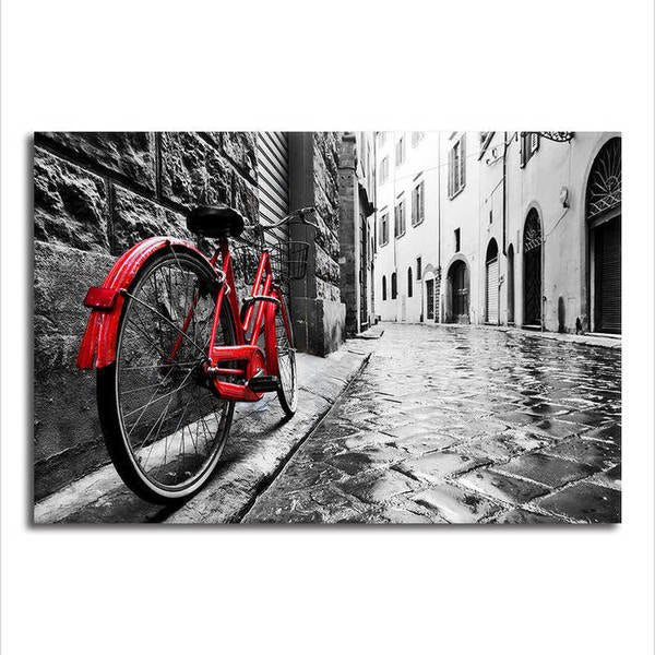 London / Paris with a splash of Red - Unframed Canvas Print (BXY221)