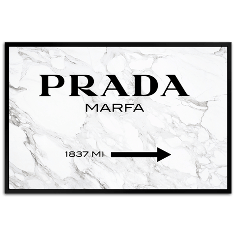 Prada Marfa on Marble - Framed Canvas Art - CNL265 - 80x120cm