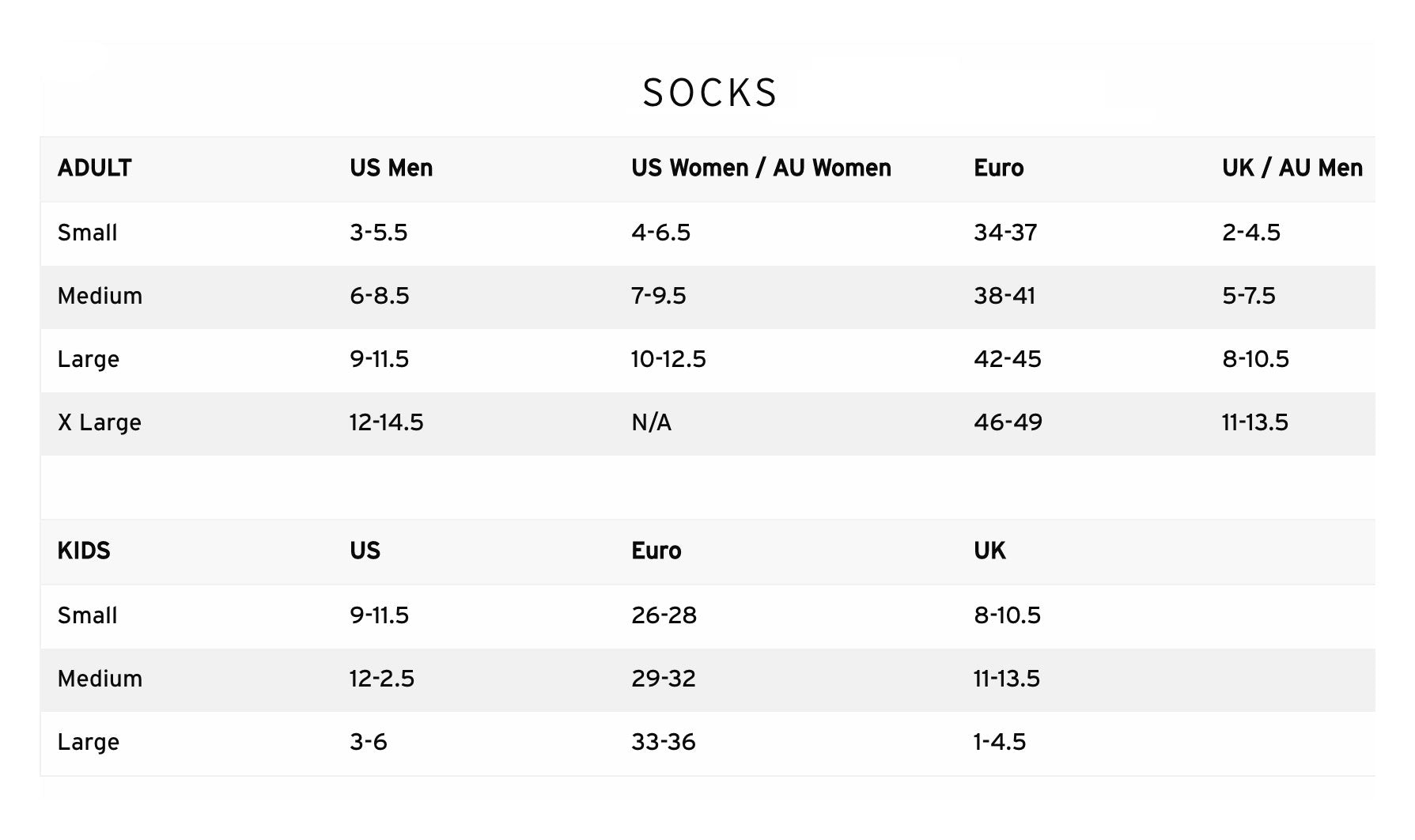 Le Bent Socks Size Guide