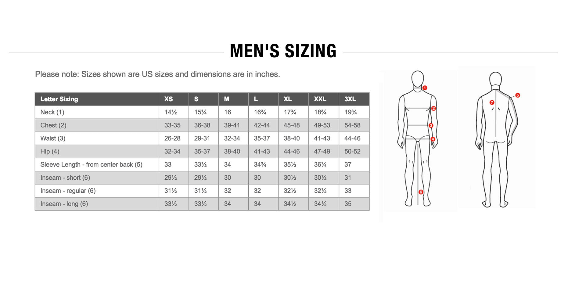 The North Face Mens Sizing Guide