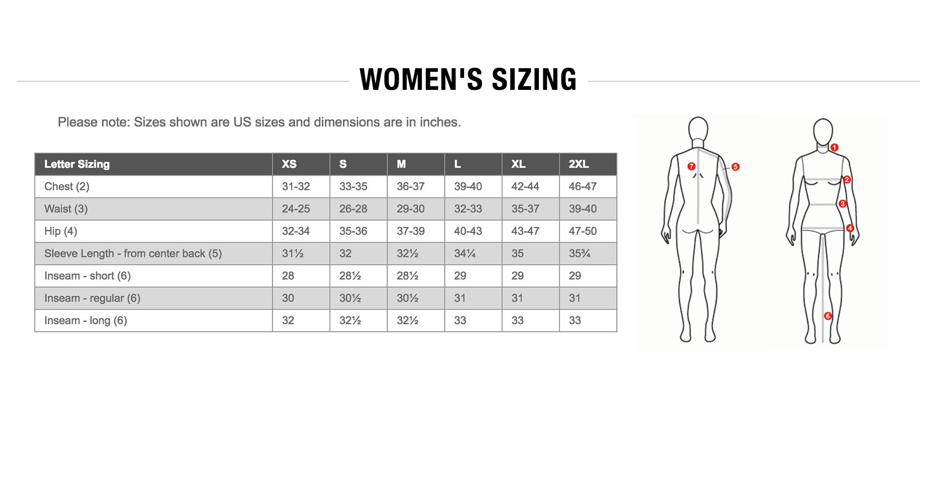The North Face Womens Sizing Guide