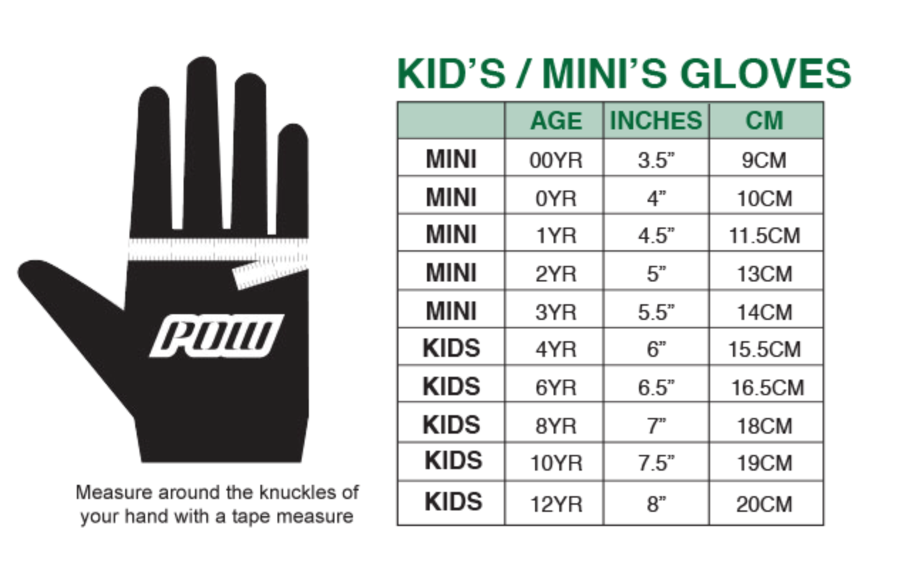 POW Kids Gloves Sizing Guide