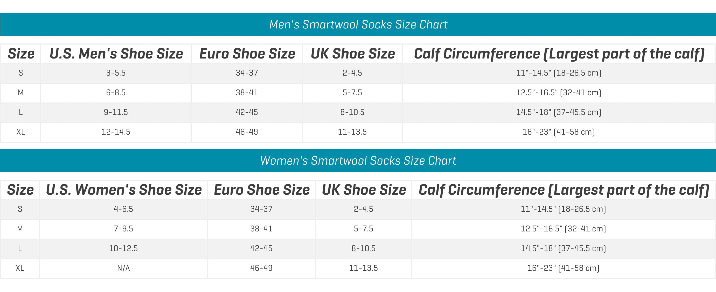 Smartwool Socks Sizechart