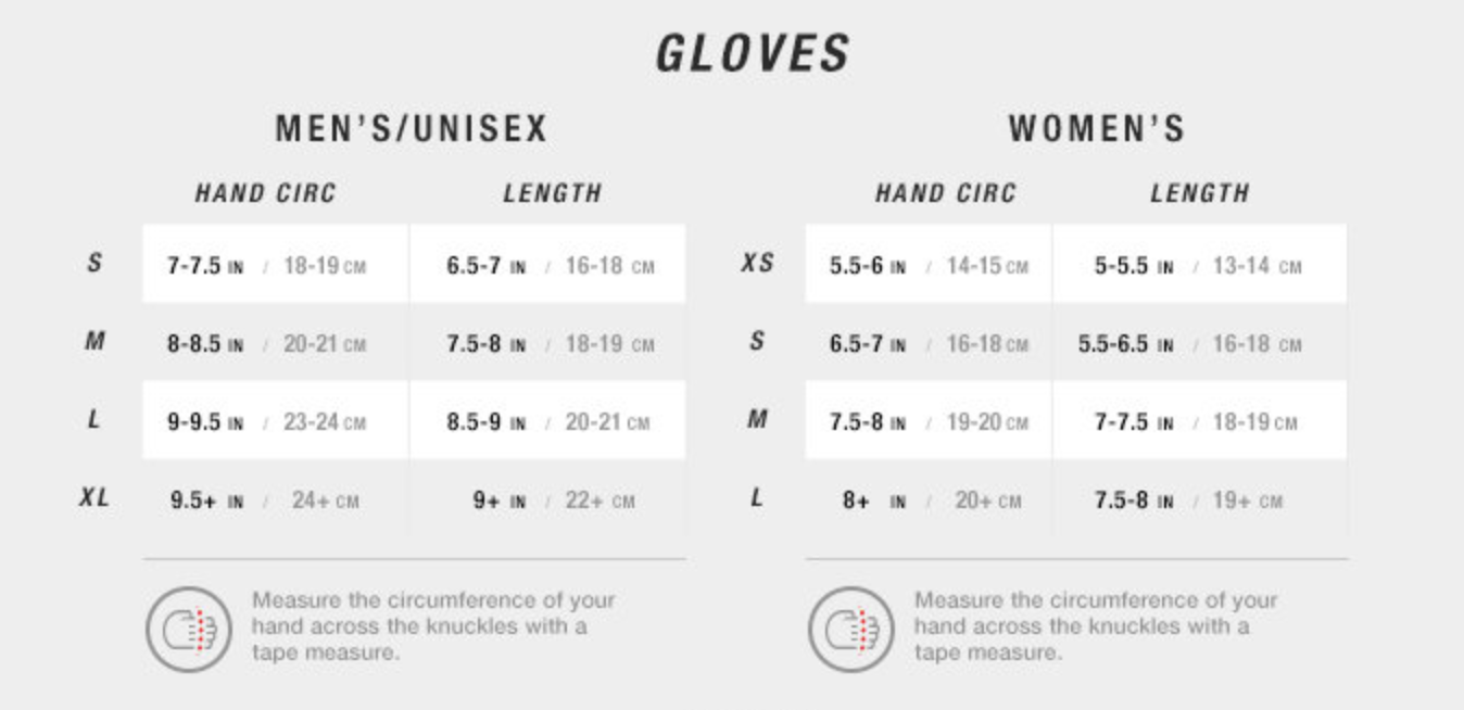 The North Face Gloves Sizechart