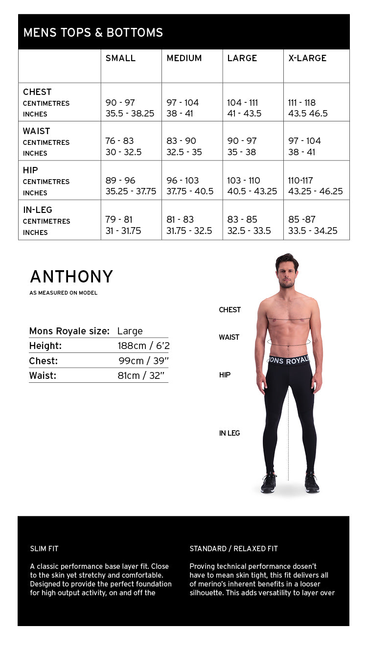 Mons Royale Mens Clothing Size Guide