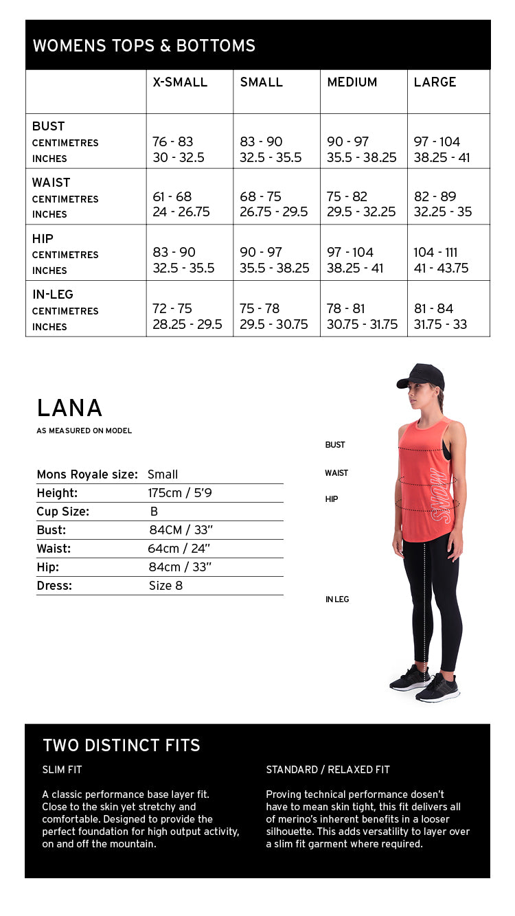 Mons Royale Womens Clothing Size Chart