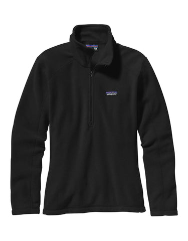 Patagonia Womens Micro D Pullover Zip Fleece-X Small-Black-aussieskier.com