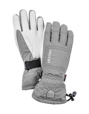 Image of Hestra Czone Powder Womens Gloves-6-Light Grey / White-aussieskier.com