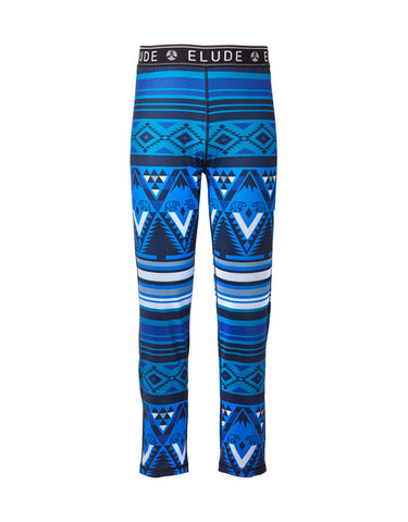 Image of Elude Boys 7/8 Thermal Pants-4-Mountain Aztec Solidate Blue-aussieskier.com