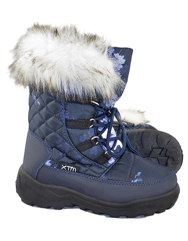 Image of XTM Inessa Girls Snow Boots-23-24-Navy Floral-aussieskier.com