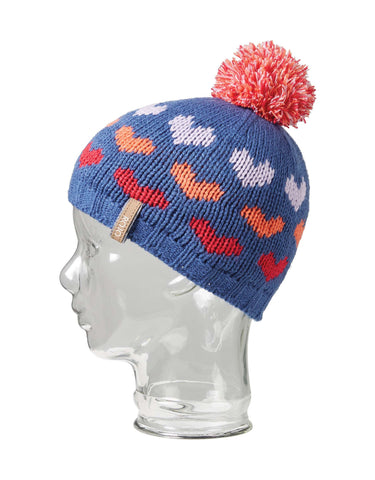 Rojo Hearts Girls Beanie-True Navy-aussieskier.com