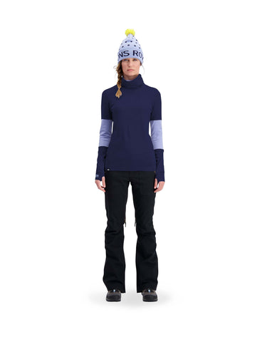 Image of Mons Royale Womens Cornice Rollover Long Sleeve Base Layer-aussieskier.com
