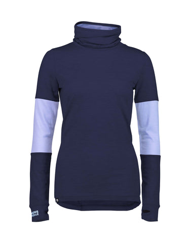 Image of Mons Royale Womens Cornice Rollover Long Sleeve Base Layer-Small-Navy / Blue Fog-aussieskier.com