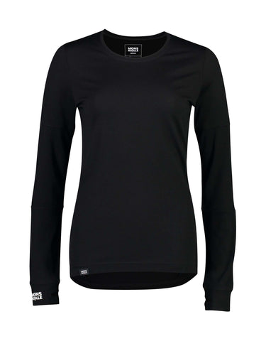 Mons Royale Womens Cornice Long Sleeve Base Layer-Small-Black-aussieskier.com