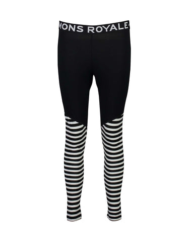 Image of Mons Royale Womens Christy Legging Base Layer-X Small-Black / Thick Stripe-aussieskier.com