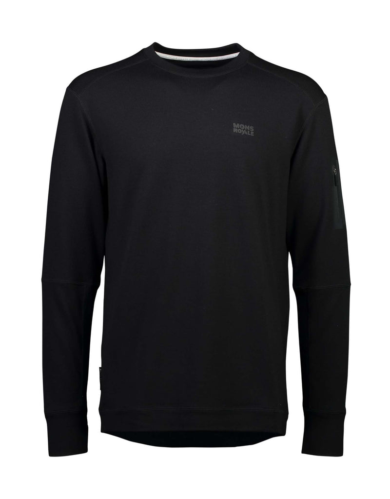 Mons Royale Mens The Harkin Jersey Crew-Small-Black-aussieskier.com