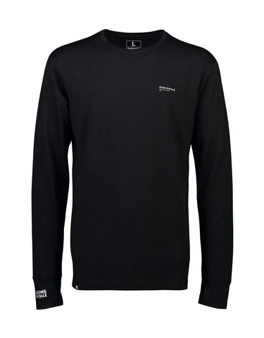 Image of Mons Royale Mens Alta Tech Long Sleeve Crew Base Layer-Small-Black-aussieskier.com