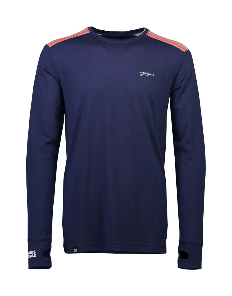 Mons Royale Mens Alta Tech Long Sleeve Crew Base Layer-Small-Navy / Grey Marl-aussieskier.com