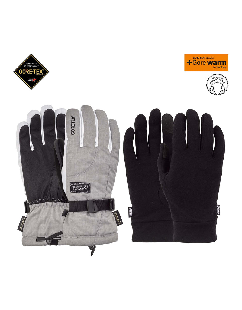 POW Crescent Long Gore Tex Womens Gloves-X Small-Ash-aussieskier.com