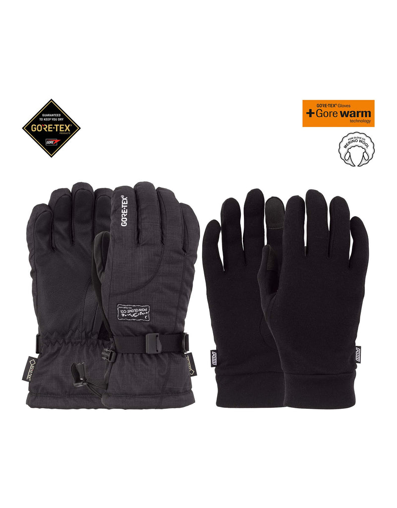 POW Crescent Long Gore Tex Womens Gloves-X Small-Black-aussieskier.com
