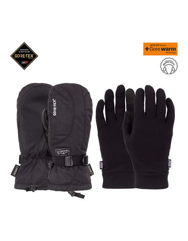 POW Crescent Long Gore Tex Womens Mittens-X Small-Black-aussieskier.com