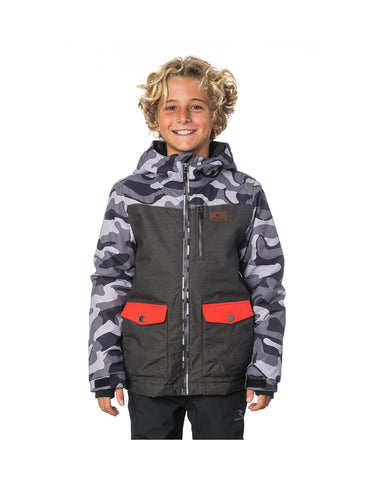Image of Rip Curl Snake Printed Junior Ski Jacket-8-Jet Black-aussieskier.com