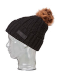 Rojo Textured Ribbed Womens Beanie-True Black-aussieskier.com