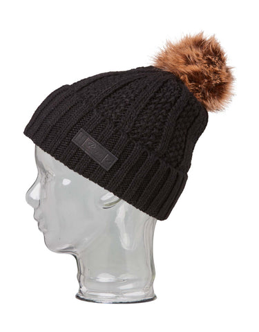 Image of Rojo Textured Ribbed Womens Beanie-True Black-aussieskier.com