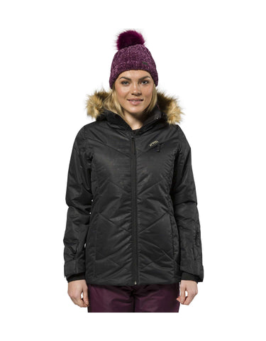 Image of XTM Pia Ladies Ski Jacket Plus Size-20-Black Floral-aussieskier.com