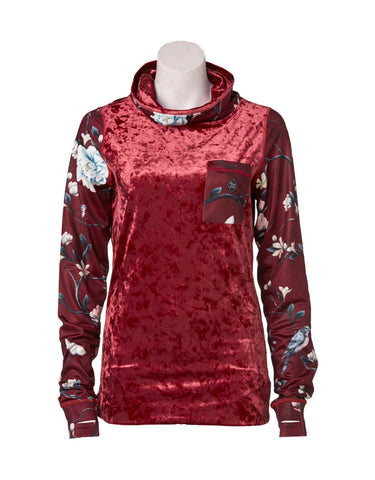 Image of Rojo Velvet Funnel Zip Base Layer Top-8-Biking Red-aussieskier.com