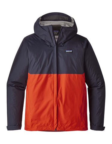 Image of Patagonia Mens Torrentshell Ski Jacket-Small-Navy Blue w/ Paintbrush Red-aussieskier.com