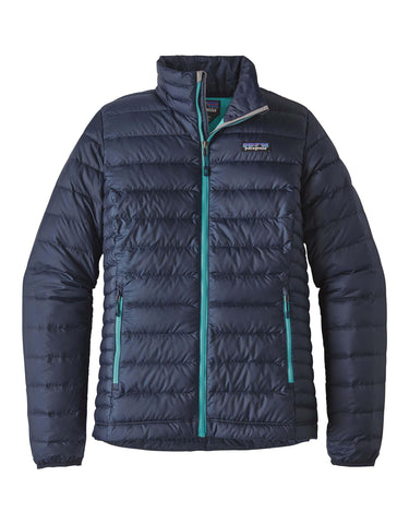 Image of Patagonia Womens Down Sweater Jacket-Medium-Navy Blue w/ Strait Blue-aussieskier.com