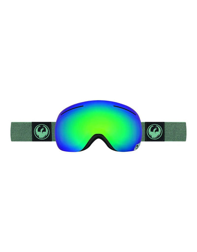 Dragon X1 Ski Goggles-Hone Emerald / Optimized Flash Green Lens + Optimized Flash Blue Spare Lens-aussieskier.com