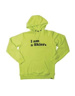 Line Skis 'I am a Skier' Hoodie-Large-Electric Yellow-aussieskier.com