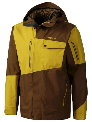 Image of Marmot Boot Pack Mens Ski Jacket-Small-Brown Moss / Yellow Vapor-aussieskier.com