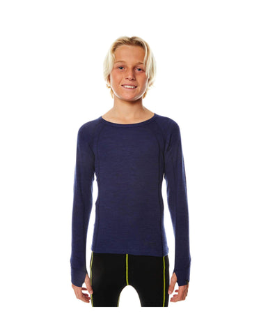 XTM Kids Merino Crew Neck Thermal Top-4-Navy Marle-aussieskier.com