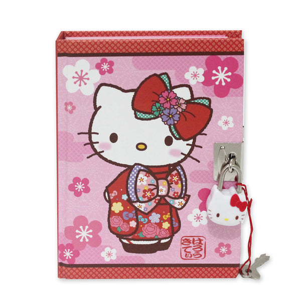 Hello Kitty Kimono Locking Diary Stationery Hard Cover 288 pages Pink 50152-00095